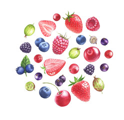 Hand drawn watercolor illustration of the different berries: Blueberry, blackberry, raspberry strawberry, gooseberry isolated on the white background. Berries mix