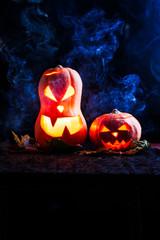 Halloween photo of two pumpkins and eyeballs