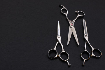 Hairdresser Accessories, Razor for cutting hair. Set of scissors