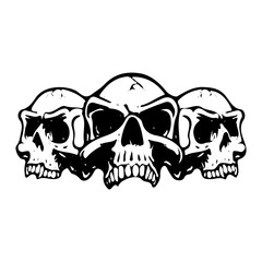 Three scary skulls, silhouette on white background,