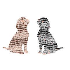Abstract geometric mosaic dog, on white background.