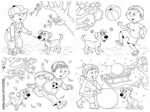 Four Seasons Coloring Page Poster A Cute Boy And His Puppy Funny