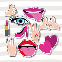 sticker set gesture on pop art linear color background