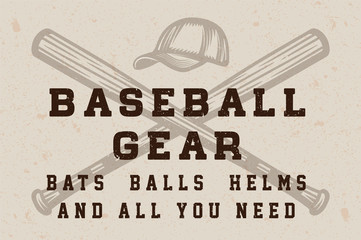 Vintage baseball gear shop poster, template, banner in retro style. Graphic Art. Vector Illustration.