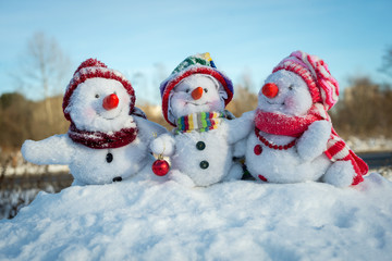 Happy snowman family