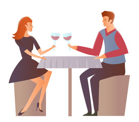 Young happy couple on a date at the restaurant. Man and woman drink wine at a romantic dinner. Vector Illustration, isolated on white background.