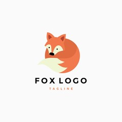 little cute fox vector flat logo mascot illustration template