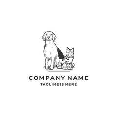 handrawn sitting dog cat logo icon vector illustration template