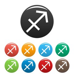 Sagittarius zodiac sign icons set vector simple