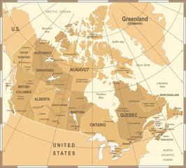 Canada Map - Vintage Vector Illustration