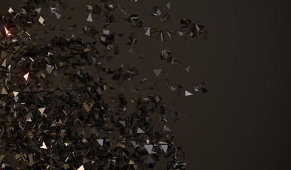 3D Rendering Of Abstract Flying Chaotic Particles On Dark Background