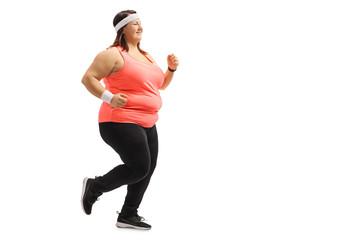 Overweight girl running