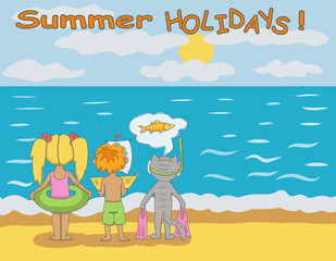 Kids and cat on the beach. Summer holidays illustration.