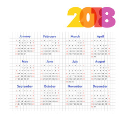 Calendar 2018 year. Week starts from Sunday