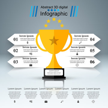 Golden cup - business infographic. Vector eps 10