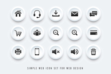simple web icon black on white button background vector set