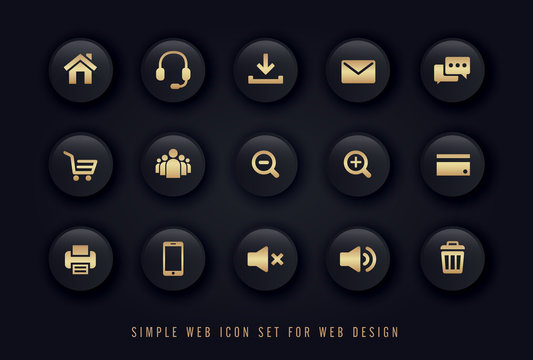 simple web icon gold on black button background vector set