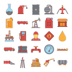 Oil and gas icon set, cartoon style