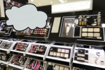 Cosmetics store. Defocused image. Place for your text or advertisement.