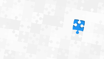 One Blue Piece Grey Puzzles - Vector Jigsaw