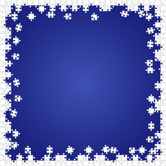 Frame White Puzzles Pieces Blue - Vector Jigsaw