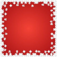 Frame White Puzzles Pieces Red - Vector Jigsaw