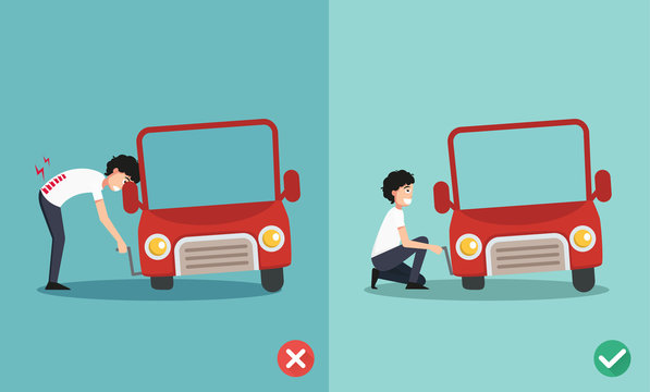 right and wrong ways to fixing car a car,illustration