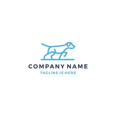 minimalist lineart monoline outline walking dog logo icon logo template vector illustration