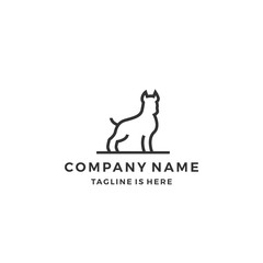 minimalist monoline outline dog vector logo icon template illustration