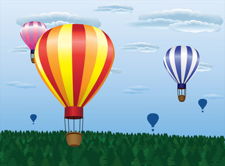 different hot air balloons flying