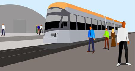 Tram on the platform