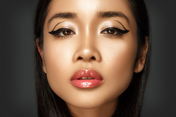 Beautiful portrait of asian woman with glamour make up and hairstyle.