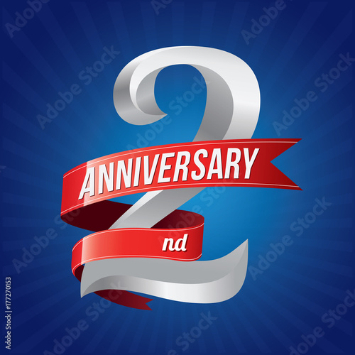2 years anniversary celebration logotype  2rd logo with red