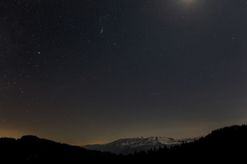 Mountain view panorama by night