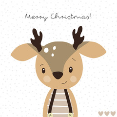 cute christmas reindeer animal vector illustration