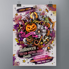 Cartoon hand drawn watercolor doodles Halloween poster design template