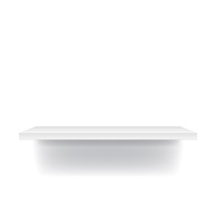White, Blue, and Brown realistic shelf isolated on white background.