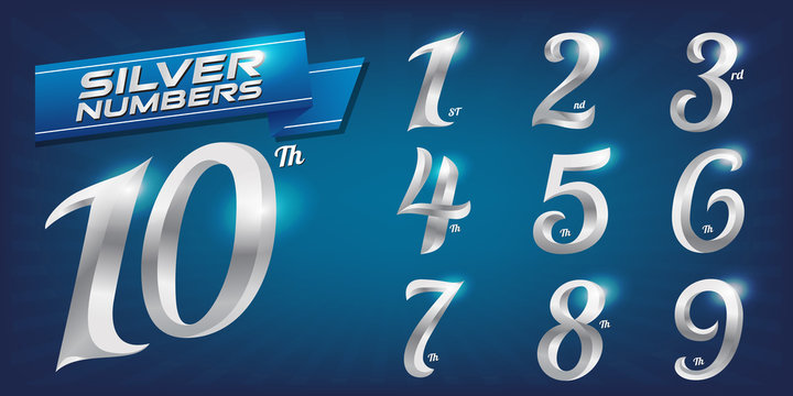 Set of metal numbers. Vector silver numbers. 1, 2, 3, 4, 5, 6, 7, 8, 9, 10, logo design