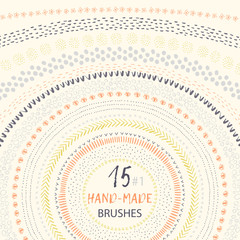 Set of vector ink pattern brushes  in the brushes panel. It can be used for circle frames and striped seamless patterns.