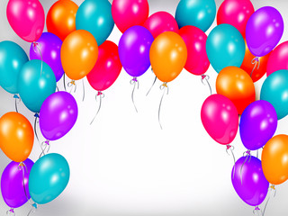 Horizontal line, border of shiny colorful balloons, party banner, poster, greeting card decoration element, realistic vector illustration. Bunch, group, line of colorful shiny balloons