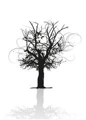 fantasievolle Silhouette eines Baumes mit Spiegelung