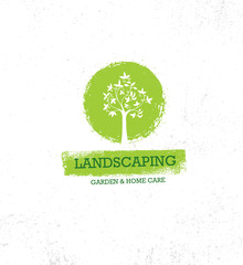 Landscaping Garden And Home Care Creative Organic Vector Old Oak Tree Sign Concept On Rough Grunge Background