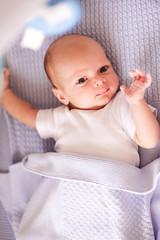 63dd747b0 Cute baby boy 1-2 months old sleeping in bed close up. Newborn lying ...