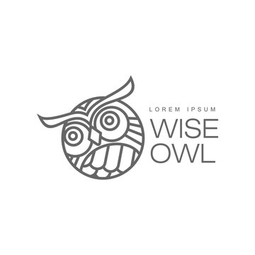 wise hand drawn wise owl head closeup ,brand logo stylized design silhouette pictogram. Line icon bird isolated illustration on a white background.
