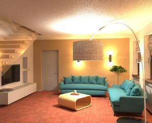 Soggiorno con divano azzurro di sera