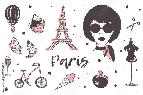 21e4c58939e11 Set of Paris and France elements - stylish Parisian woman, perfume, french  croissant, Eiffel Tower, glass of champagne hand drawn in doodle style and  ...