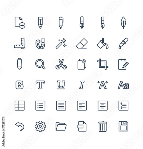 Vector Thin Line Icons Set Graphic Design Elements Illustration