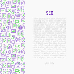 SEO and development concept with thin line icons. Vector illustration for banner, web page, print media with place for text.