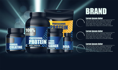 Design for set of containers for sports nutrition. Vector illustration. Plastic Jars and foil package.