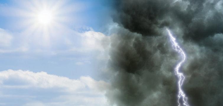 Klimawandel Wetterumschwung Sonnenschein und Gewitter - Climate change Weather Changing Sunshine and thunderstorm